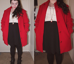 Katie - Thrift Oversized Coat, Thrift Lace Blouse, Pleated Skirt, Ankle Booties - Kitschy Christmas