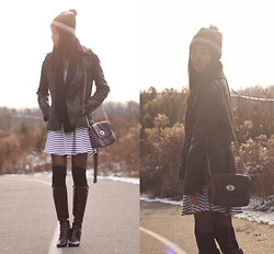 Sabrina Kwan - Nine West Tall Boots, Over The Knee Socks, Vero Moda Striped Dress, Danier Leather Jacket - Winter Stripes