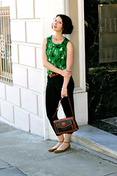 Audrey Elizabeth - Banana Republic Granny Shirt, Madewell Super Soft Jeans, Dooney & Bourke Vintage Purse - Emerald and Pearls