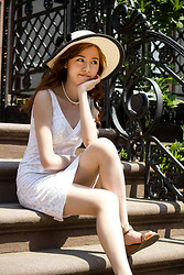 Xy - Banana Republic Dress, Pearl Necklace, Sun Hat - New York Summer