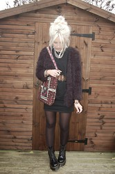 Nicola Boraston - Yesstyle Furry Jacket, Frontrowshop Cut Out Dress, Dr. Martens Jadon Boots - Cut Out