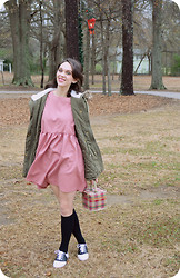Amy McLarty - The Whitepepper Pink Smock Dress, Charlotte Russe Utility Jacket, Predictions Saddle Shoes, Merona Knee High Socks - Six years