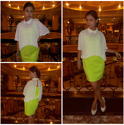 Genebei Saratorio - Romwe Fake Two Piece Color Block Fluorescent Green Dress, Fa2 Shop Cream Pumps - Flourescent Green + ROMWE Dress Giveaway  (1 day left!)