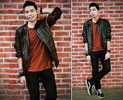 Renz C - Leather Jacket, Cotton On Red Tee, Forever 21 Skinny Jeans, Vans Classic Hi Sk8, Forever 21 Studded Bracelet, Sm Dept. Store Leather Strap, G Shock Wrist Watch - We'll be livin' fast, Kickin' ass together