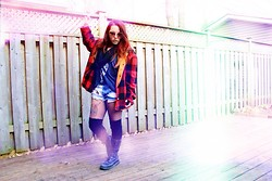 Naomi MacKeown - Thrifted Plaid Lumber Jacket, Talula Skull Deep Racerback Tank, One Teaspoon Trashwhore Domino Shorts, Dr. Martens Triumph 1914 Weathered Boots, Brandy Melville Usa Reese Circle Scarf - You're So Last Summer