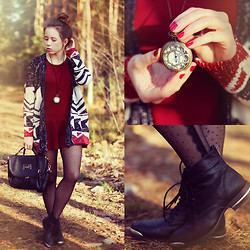 Wioletta Mary Kate - Sheinside Dress, Sheinside Cardigan, Cropp Shoes, Romwe Bag - Last Breath Of Autumn // 300 look