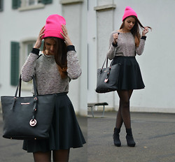 Saskia Ciliberto - Bershka Pink Beanie, Michael Kors, Tally Weijl Sweater, H&M Boots - This little splash of colour!