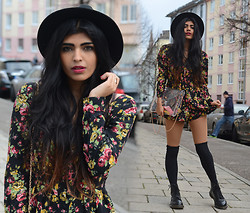 Kavita D - Missguided Black Fedora, Missguided Floral Playsuit, Missguided Clear Clutch, Dr. Martens Dr - Dark Horse