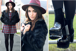 Rachael Dobbins ♡ - Hearts And Bows Tartan Dress, Oasap Fur Sleeve Pea Coat, Mart Of China Chunky Heel Boots, Missguided Alaga Fedora - School girl tartan