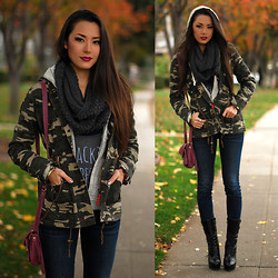Jessica R. - Thread And Supply Camo Jacket, Bullhead Black Jeans, Francesca's Scarf - Can we Camo