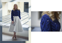 L M - H&M Light Grey Midi Skirt, Sheinside Navy Knit With Pearls - Stepford wife