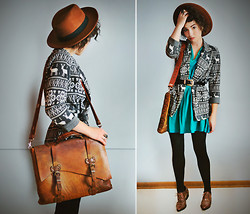 Sophia Mayrhofer - H&M Wide Brim Hat, Threadsense Reindeer Blazer, Ebay Vintage Leather Laptop Bag, Opitz Outlet Teal Dress, Thrifted Leather Belt, Target Opaque Tights, Thrifted Vintage Lace Ups - Expectations are the root of dissatisfaction