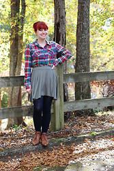 Jamie Rose - Target Plaid Flannel Shirt, Boohoo Muted Green Skirt, Forever 21 Navy Blue Tights, Brown Lace Up Vintage Boots - Super Fall-tastic