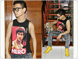 Rald Navarro - Bruce Lee Limited Edition Tank Top Shirt, Folded & Hung Eyewear, Wade Yellow Kicks, Oxygen Acid Wash Pants - I can be your HERO, baby...