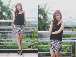 Rhea Bue - Romwe Sexy Strap Top, The Berries Snake Printed Skirt, Carmelletes Studded Heels - LOOK 286: Python Statement
