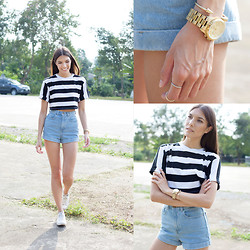 Jacqueline Boulton - Shop Dixi Rings, H&M Bangle, American Apparel Shorts, Converse Sneakers, Topshop Crop Top - Playing It Casual