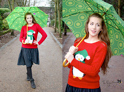 Claire Raywood - Penguin Jumper, Black Wrap Skirt, Primark Fluffy Boots, Awesome Umbrella - Penguin Jumper