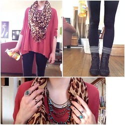 Abbie Marie - Hanging Sweater, Infamous Cheetah Scarf, Rebels Studded Witchy Boots, Layered Necklace - Throw a little class in it