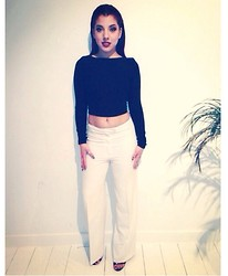 Kay M. - River Island Top, Georges Rech Pants, Steve Madden Heels - Black&white