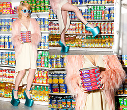 Rachel Lynch - Jeffrey Campbell Blue Moon Shoes, Wildfox Couture Teal Mirror Circle Sunnies, Trash And Vaudeville Pink Fur Shag Jacket, Nasty Gal Cut Out Dress - Blonde Sardine