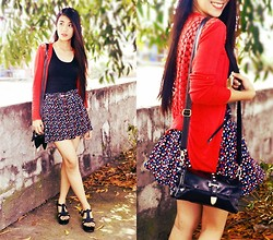 Marjh Collado - H&M Heart Print Skirt, Secosana Mini Body Bag, Janilyn Platform Wedge Sandals - Dress Up With A Heart