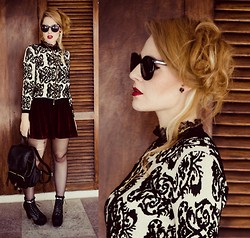 Talitah Sampaio - Chic Wish Sunnies, Chic Wish Sweater, Chic Wish Velvet Skirt, Chic Wish Bag - The Beautiful Baroque Print