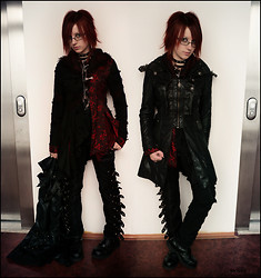 Kvicka Ajvi - Punk Rave Visual Kei Coat, Punk Rave Kimono (Jacket), (Resewn From Xxl To M) Punk Pants - Both sides are dark