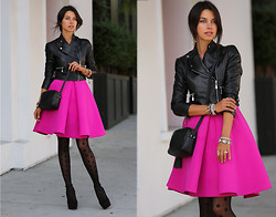 Annabelle Fleur - Cameo The Label Skirt, Hue Sheers, Gucci Bag - PINK & POLKA DOTS