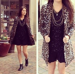 Elizabeth Anderson - Bb Dakota Leopard Coat, Libby Story Sequin Sweater, Black Slip, Lenna Agnes Layered Necklace, Dsw Black Boots - Holidayze