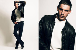 Eric M - American Apparel Black Leather Jacket, Lucky Jeans Blue - Wild At Heart