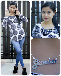 Genebei Saratorio - Romwe Leaf Print Asymmetric Black Blouse, Jolly Chic No Zipper Slim Jean Legging Ninth Legging Pants Light Blue Grey, Swarovski Sterling Silver Alegro Name Necklace - ONecklace