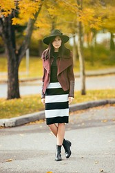 Ania B - Silence & Noise Hat, Bcbg Moto Jacket, Zara Top, Joe Fresh Skirt, Cole Haan Boots - Yellow