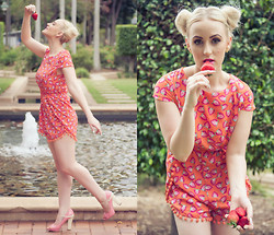 Ashleigh McCallum - Pemba Boutique Strawberry Bobble Playsuit, Lawson Gems Marcasite Bezel Solitaire Ring, Nine West Pink Pumps, Erin Smith Photography - Strawberry Kisses, Summer Wishes...