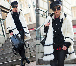 Sirma Markova - Woakao Backpack, Choies Sweater, Choies Ankle Boots, Sheinside Shirt, Isabel Marant Hat - Cozy Fur