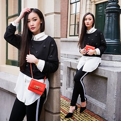 Levi Nguyen - Pullover, Crossbody Bag, Stripe Legging, Pointy Heels - SPARKLY