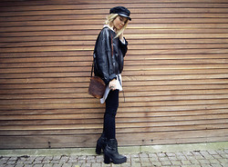 Isabella Thordsen - Asos Hat, Jeffrey Campbell Boots - Black, white and grey