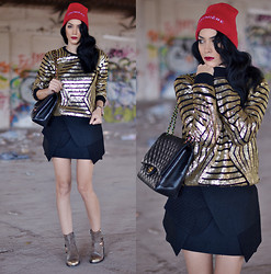 Konstantina Tzagaraki - Blouse, Skirt, Chanel Bag, Beanie, Booties - Love yourself as is u were a rainbow with gold at both ends.