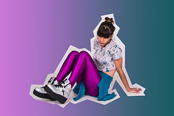 Daniela Nutz - Threadless Crop Tee, Forever 21 Fuzzy Cardigan, American Apparel Purple Disco High Waist Pants, Unif Hologram Platform Sneakers - THREADS