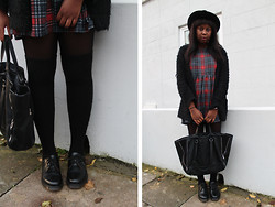 Mwandu S - New Look Dress, Primark Cardigan, Zara Bag, Dr. Martens Shoes - If I fall Back Down, you'd pick me up