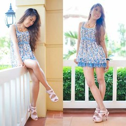 Rhea Inot - Floral Dress, Pink Sandals - Summer Dress