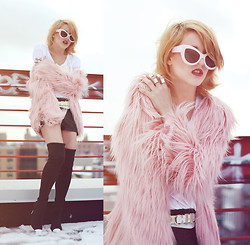 Rachel Lynch - Wildfox Couture Pink Beverly Hills Sunnies, Nasty Gal White Tee, Trash And Vaudeville Pink Shag Coat, Vintage // Thrifted Mocha Belt, Rock Refinery Sequin Shorts, Jeffrey Campbell Thigh High White Toe Boots - Castle in the sky