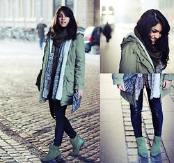 Naina Kamath - Mango Parka, Equipment Silk Blouse, Zara Faux Leather Trousers, H&M Suede Booties - Camo CPH