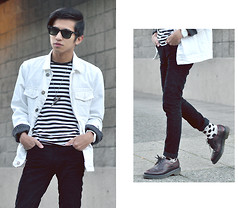 Mc kenneth Licon - Won Hundred White Denim Jacket, H&M Stripe T Shirt, Dr. Martens Brogues - Stripe and Brogue