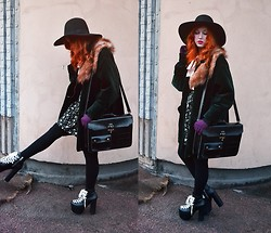 Anna Salo - Monki Hat, H&M Faux Fur Collar, Unif Hellbound Platforms - Green Velvet and Black Leather