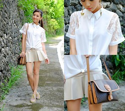 Kryz Uy - Wagw Top, Choies Skirt, Cole Haan Brogues - White and Khaki