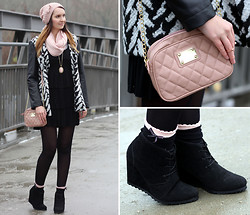 Sabrina K. - Primark Pink Bag, Primark Wedges, Primark Coat, Tally Weijl Black Dress - Broken trust and broken hearts!