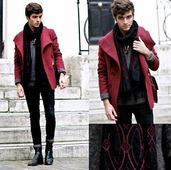 "Matthias C. - Dries Van Noten Hand Made Embroidered Scarf, Doublju Burgundy Peacoat, Jack & Jones Sweater, Boots, Black Skinnies - ""Thoas"""