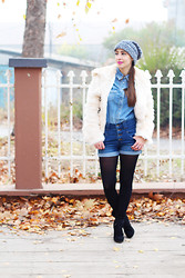 Jovana Bovan - Asos Fur, H&M Shirt, Aupie Shorts, Zara Boots - Denim on denim