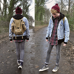 Robbie Cook - Topman Hat, Vintage Shirt, Converse High Tops, Levi's® Levi's Jacket, Beasleys Backpack, H&M Jeans - It's Grim Up North