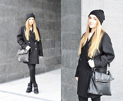 Kinga Jassowicz - Mango Coat, Pinko Bag, Cos Cashmere Hat, Aldo Wedges - COS & PINKO